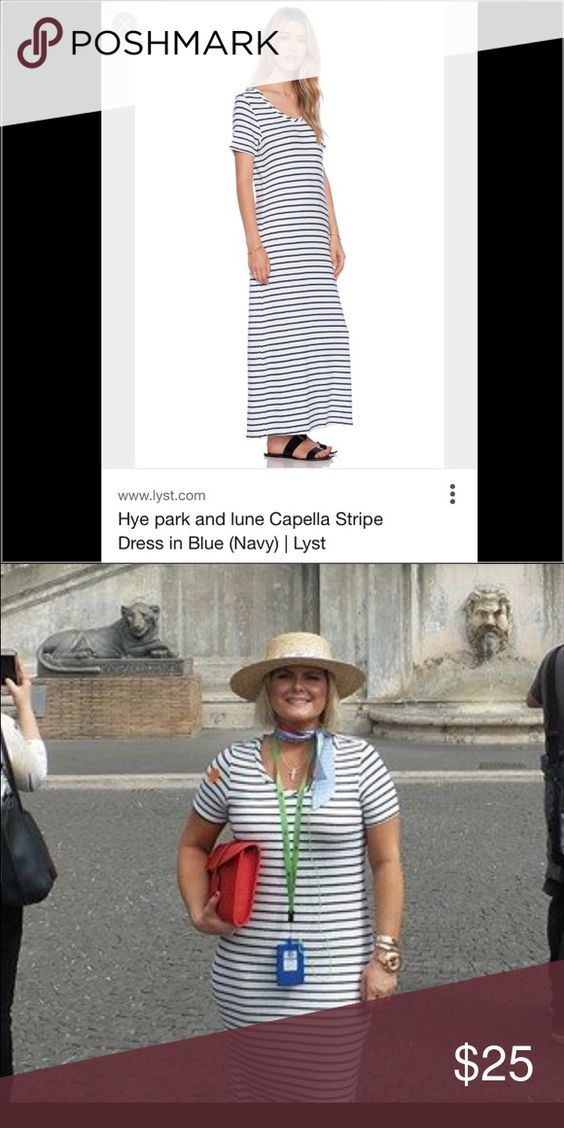 Hyde park &lune stripe maxi dress Work one time sold out size 1 about a med it has stretch to it white and blue strip Dresses Maxi