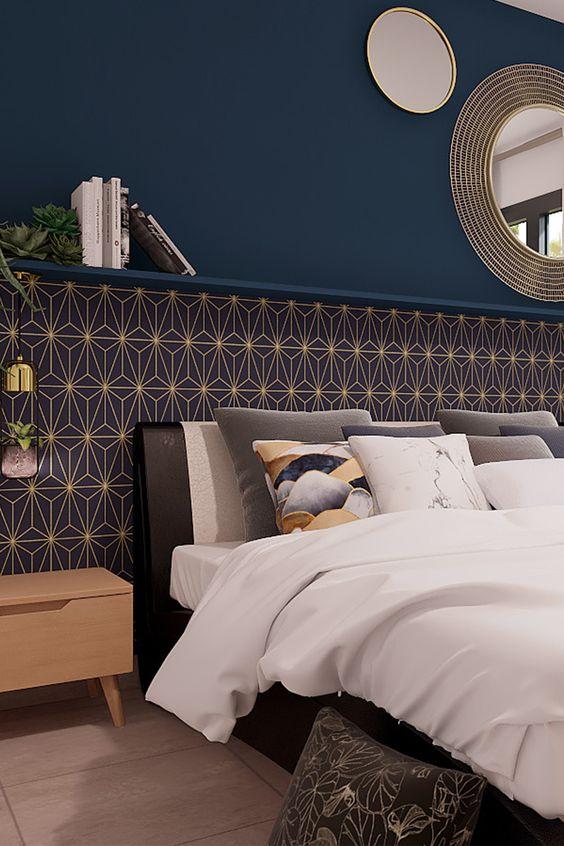 Découvrez les indispensable d'une décoration art déco ! #chambre #art #déco #vintage #bleu #laiton #style #tendance