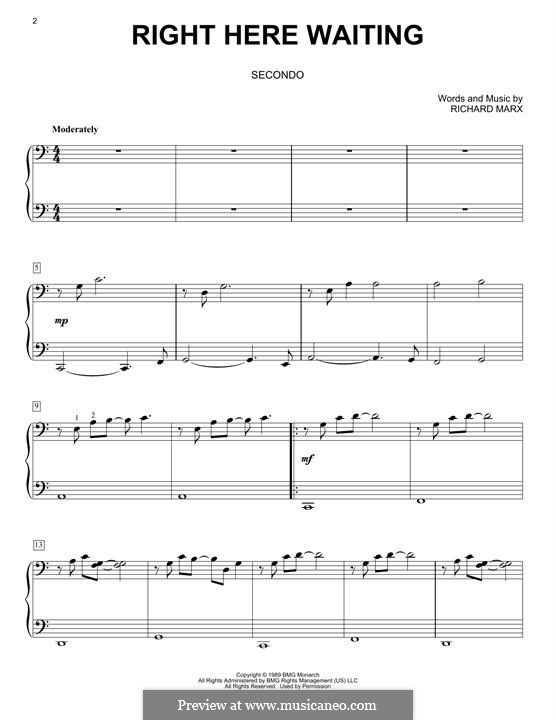 Right Here Waiting By R Marx Right Here Waiting Richard Marx Sheet Music