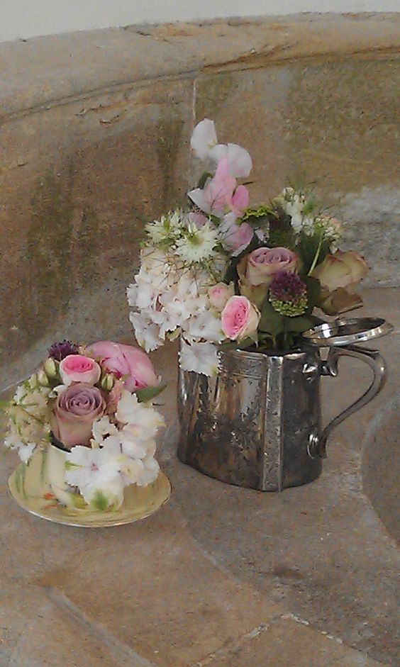 Vintage containers filled with summer flowers, Hestercombe Gardens