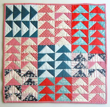 Mini Quilt of the Month, July: Flying Geese Quilt by the purl bee, via Flickr  Perfect colors.
