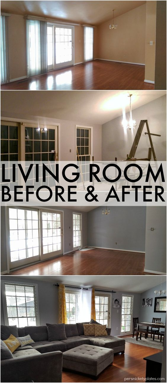Before after photo before and after pictures and living - Benjamin moore stonington gray living room ...