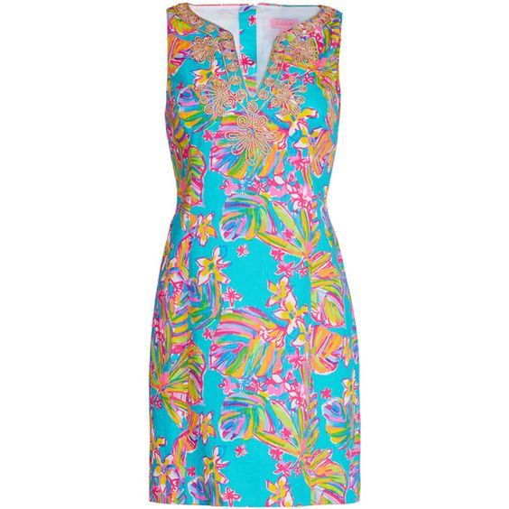 Rental Lilly Pulitzer Sutache Shift ($45) ❤ liked on Polyvore featuring dresses, blue sleeveless dress, lilly pulitzer dresses, blue cotton dress, lilly pulitzer and abstract print dress