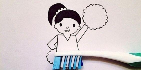 Elle réalise de jolies illustrations à partir d'objets du quotidien