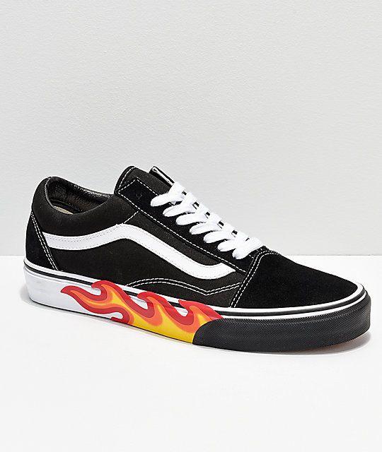 Vans Old Skool Flame Black & White Bumper Skate Shoes in