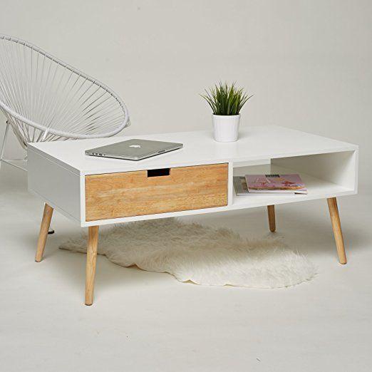 Couchtisch Lowboard TV Tisch Weiss Natur Mit 2 Schubladen Wohnzimmertisch Beistelltisch Retro Stil