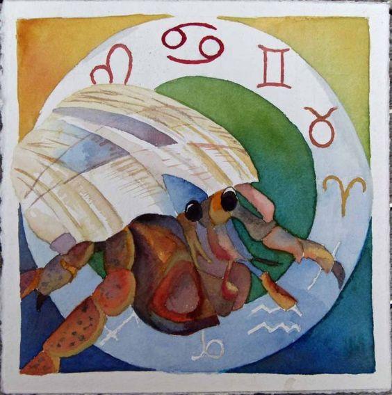 Zodiac (hermit) Cancer © #watercolor by Frank Koebsch; 21 x 21 cm, $270; More information about the Zodiac can be found at http://frankkoebsch.wordpress.com/2011/11/16/sternzeichen-einsiedler-krebs-%C2%A9-aquarell-von-frank-koebsch/