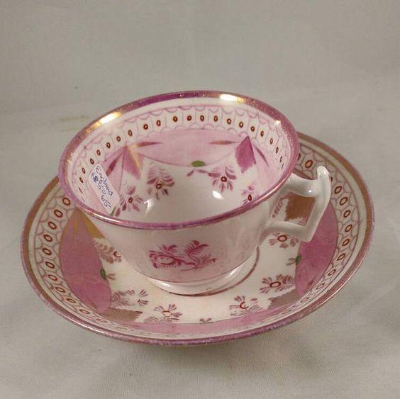 Antique English Pink Lustre Tea Cup/Saucer Floral Motif Pink