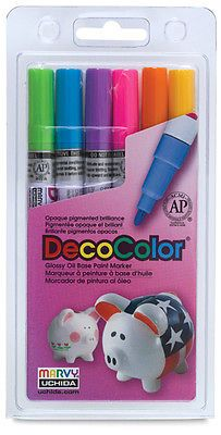Uchida DecoColor Glossy  Oil Base Paint Marker Hot Colors Fine Point 200-6C