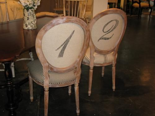 Oval Back Dining Chair with numbers painted