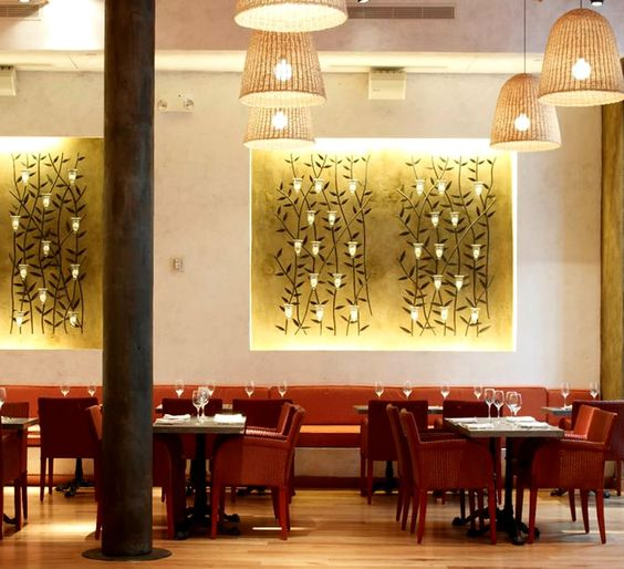 Luxury mediterranean fine dining restaurant interior