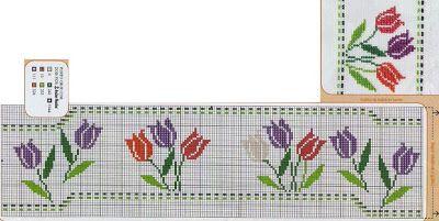 ponto cruz tulipas graficos - Pesquisa Google