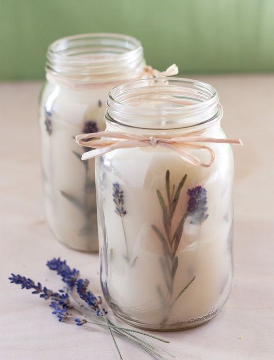 DIY: Pressed Herb Candles - I can't wait to try this project!!! It actually looks really easy once you have all the wax and wicks. This will make a fabulous handmade gift!: