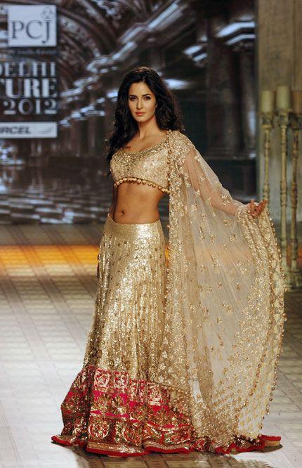 Saree made by Bollywood fashion designer Manish Malhotra - Bollywood actress Katrina Kaif
