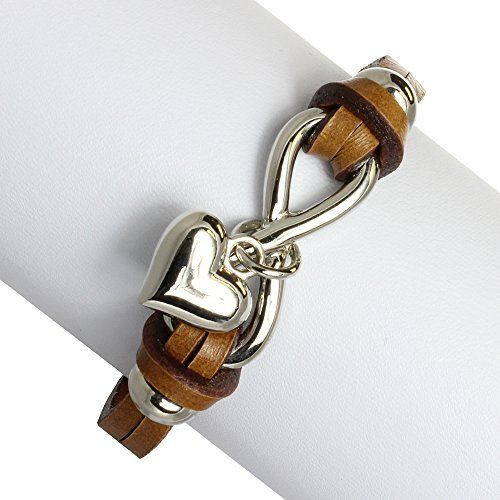 Rhodium Plated Stainless and Leather Infinity Sign and Heart Charm Wrap Bracelet >>> You can get more details by clicking on the image.