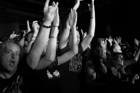 Magnum PhotosGuy Le Querrec SWITZERLAND. Montreux Jazz Festival. 2012. The audience is singing during the concert of the Finnish band Nightwish at the Montreux Jazz Festival on July, 12th