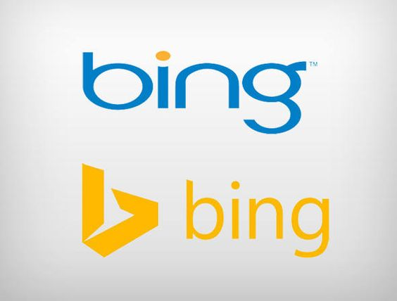 Logotipos antigo e novo do Bing