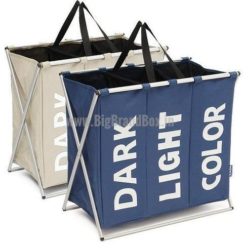 Foldable 3 Section Laundry Clothes Storage Bag Folding Laundry