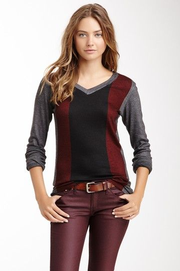 Go Couture V-Neck Sweater: Sweater Eggplant, Sweater Colour, Outfit Crc, V Neck Sweaters, Color Combinations, Heather Style