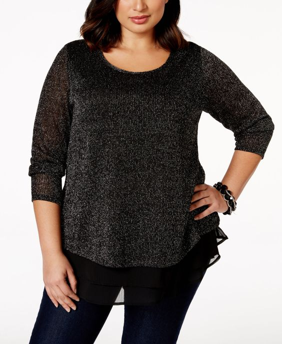 Style & Co. Plus Size Layered-Look Metallic-Knit Top