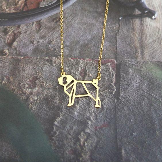 Pug  Dog Necklace Origami Necklace Geometric by glorikamishop