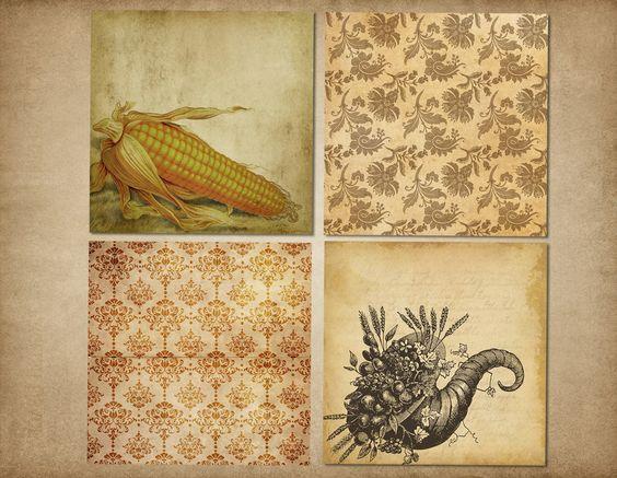 Vintage Thanksgiving Digital Paper by Origins Digital Curio on Creative Market