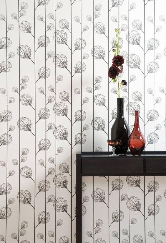 Ferm Living Ribbed Wallpaper Black black / white 10.05 x0, 53m