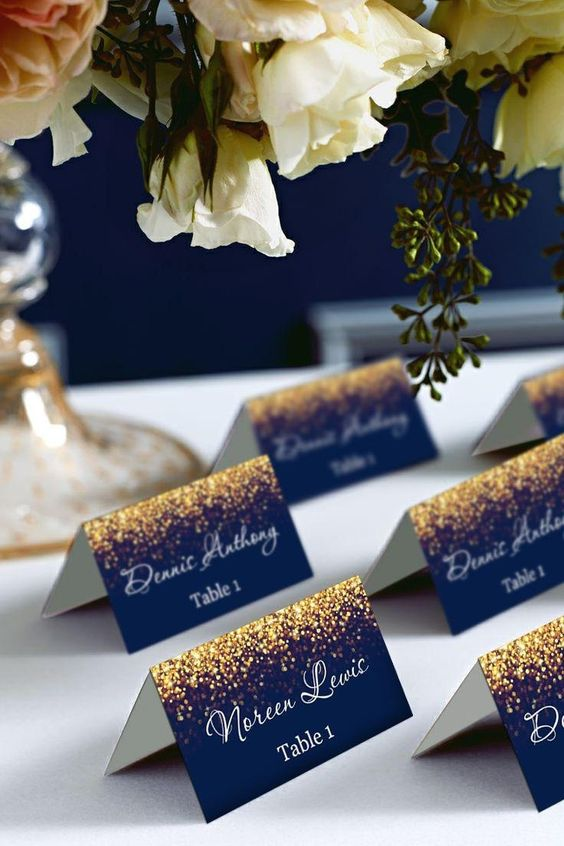 Gold Sparkle and Navy Wedding Place Card Tents | Etsy