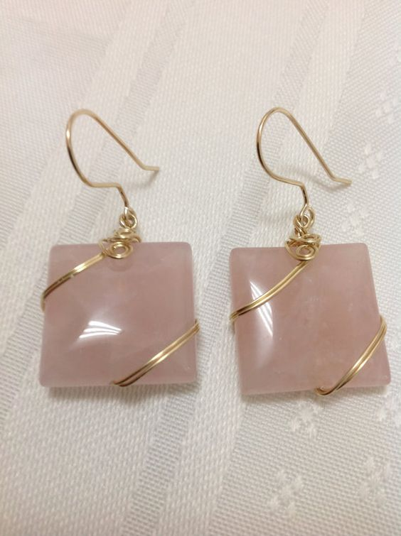 Rose Quartz  Wire wrapped 14K gold filled by OritWhiteLight