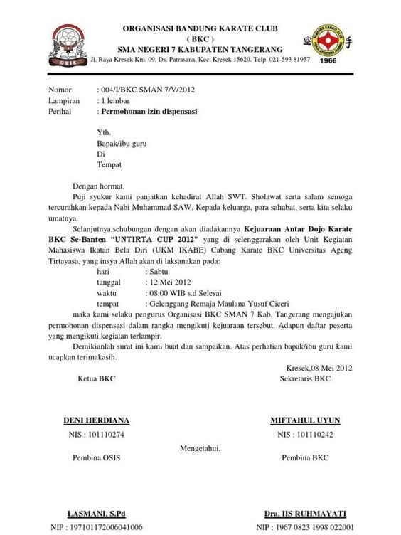 Contoh Surat Dispensasi Tidak Masuk Sekolah Kuliah Dan Kerja Terlengkap Surat Masuk Sekolah Sekolah