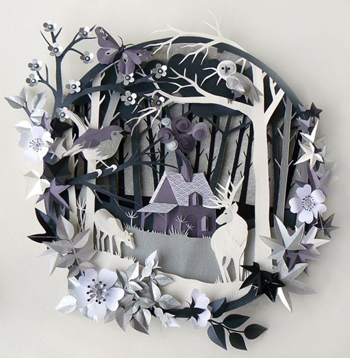 Paper Art - Beauties Woodland Cottage by Helen Musselwhite: