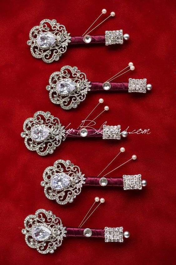Silver Wine Wedding Package CZ Lapels set of 5