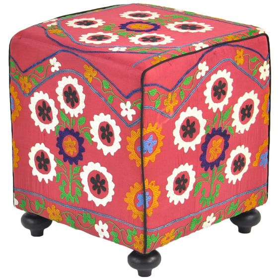 {Tatiana Suzani Cube} uses traditional hand embroidered Uzbek motifs - beautiful
