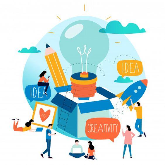 Idea, thinking outside the box, content development, brainstorming Premium Vector