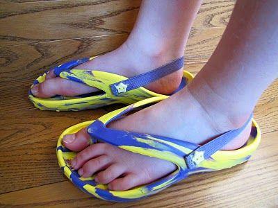 DIY Elastic strap on the back of kids flip flops!