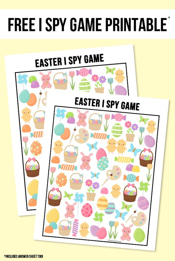The perfect way to entertain the kids this Easter!  This sweet Easter I Spy Printable comes with an answer sheet and answer key too!  Print yours at livelaughrowe.com #easter #ispy #printable:
