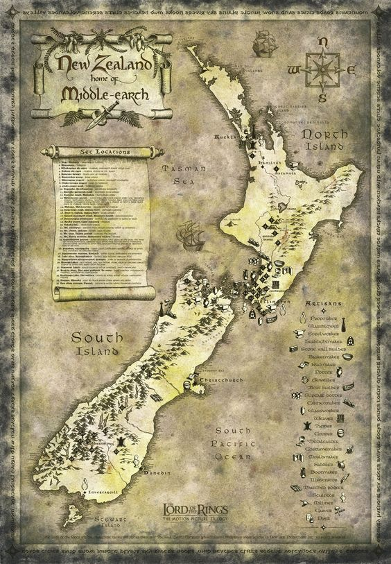 New Zealand Lord Of The Rings Tourist Map Neuseeland Neuseeland