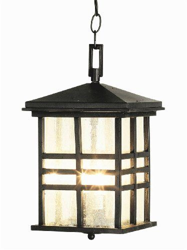 """Outdoor 14"""" Hanging Lantern Finish: Weathered Bronze by TransGlobe Lighting. $143.82. 4638 WB Finish: Weathered Bronze Features: -Two light hanging lantern.-Seeded glass.-UL listed for wet location. Construction: -Cast aluminum construction. Color/Finish: -Black finish.-Weathered bronze finish. Specifications: -Accommodates (2) 60W candelabra base bulbs (not included). Dimensions: -Overall dimensions: 14'' H x 8.5'' W.. Save 46%!"""