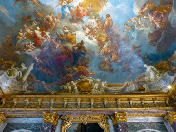 "Ceiling in Versailles Salon d'Hercule, named for the painting ""Apotheosis of Hercules"".  Artist, François Lemoyne:"