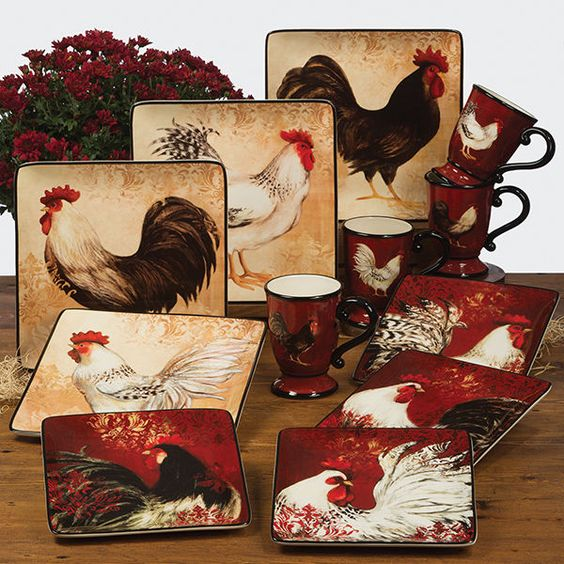 Rooster Kitchen Decor French Country: Roosters, Dinnerware Sets And French Country Style On Pinterest