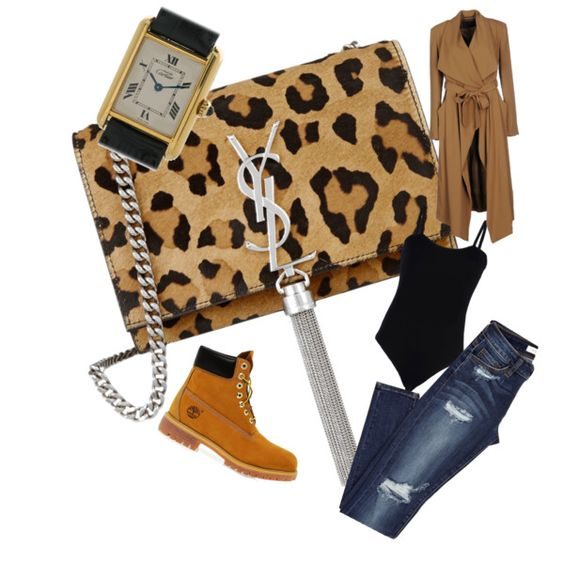 A fashion look from November 2015 featuring Baguette..... t-shirts, Timberland ankle booties and Yves Saint Laurent shoulder bags. Browse and shop related look…