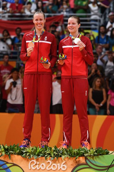 Silver medalists Christinna Pedersen and Kamilla Rytter Juhl of Denmark pose during the medal ceremony for the Women's Doubles Badminton on Day 13 of the Rio 2016 Olympic Games at Riocentro - Pavilion 4 on August 18, 2016 in Rio de Janeiro, Brazi