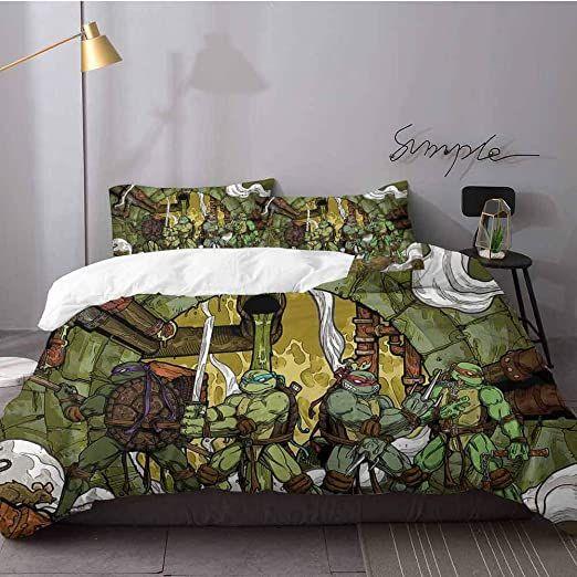 Hunttynan Bed Sheets Set Teenage Mutant Ninja Turtles Bed Sheets And Comforter Set Bedding 3 Piece Duvet Cover S Duvet Cover Sets Bed Sheet Sets Comforter Sets