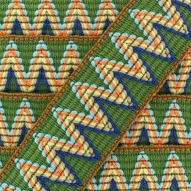 Ruban galon élastique Incas vert x 50cm Ma Petite Mercerie