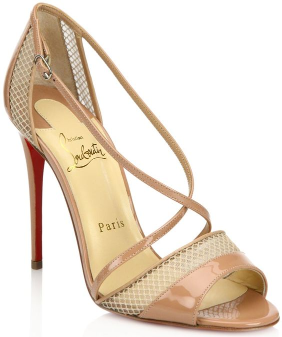 mens louboutin spiked loafers - Christian Louboutin Beige Silkova Patent Leather & Mesh Sandal ...