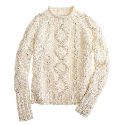 J.Crew  Collection handknit cable sweater