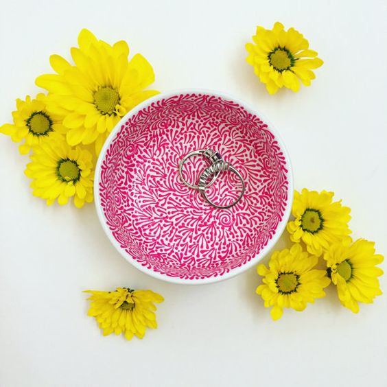 Hand Painted Jewelry Dish (Solid Hot Pink)