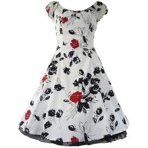 Tiger\ Milly 50's Vintage Red Rose Tea Prom Floral Dress - White, Black & Red