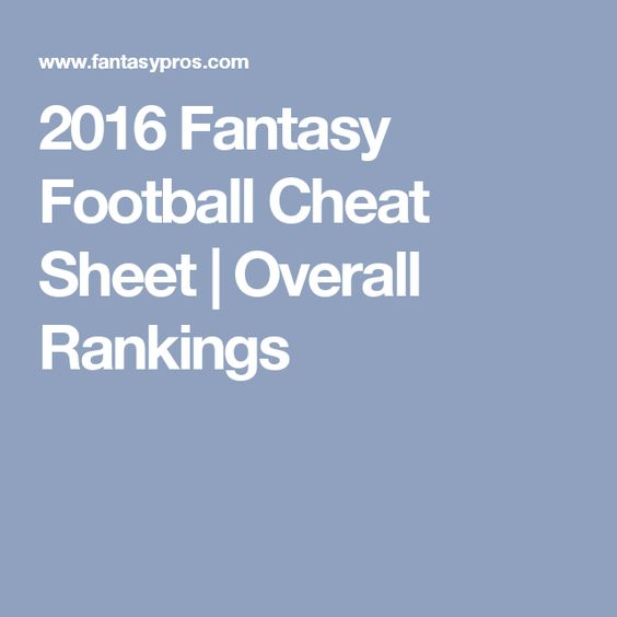 2016 Fantasy Football Cheat Sheet   Overall Rankings
