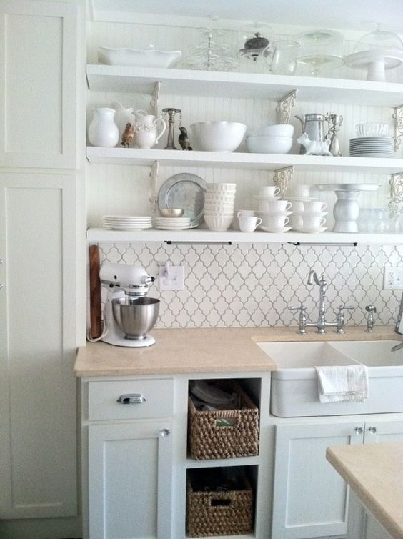 backsplash pattern, shelving, white